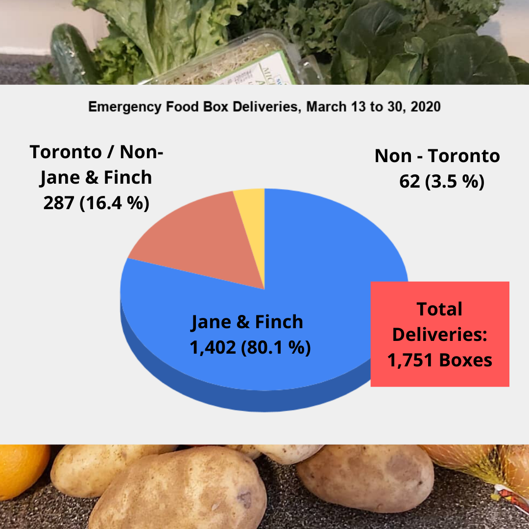 Chart describing numbers fo food box delvieries in Jane Finch and Toronto