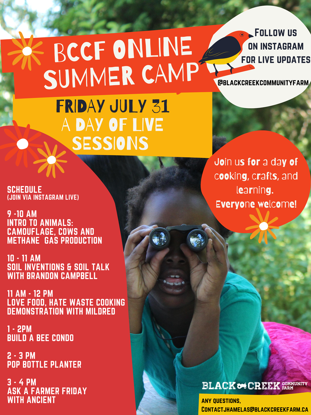 BCCF Online Summer Camp Poster - July 31st