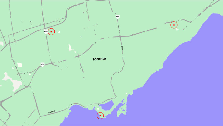 toronto map with key points